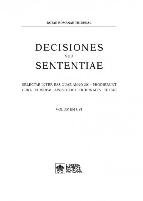 DECISIONES SEU SENTENTIAE vol. 106